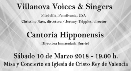 Concierto en la Parroquia de Cristo Rey. 10 de Marzo: Villanova Voices & Singers. Filadelfia con Canoria Hipponensis